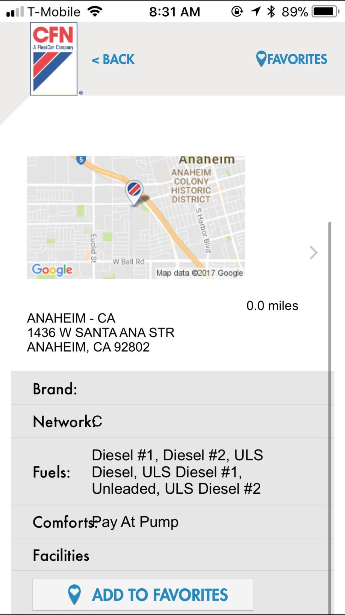 iPhone App CFN Location Details