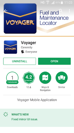 Voyager App in Play Store