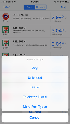 iPhone Fuel Type Selection